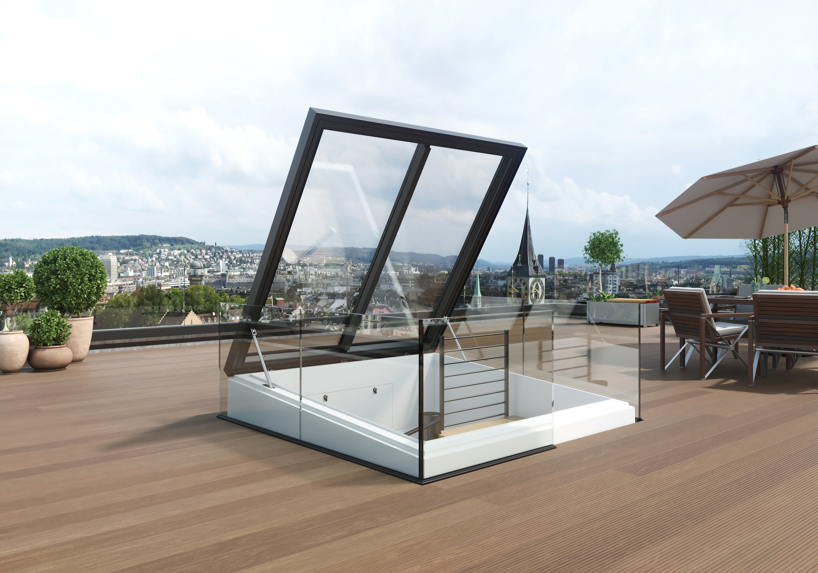 Square exit enables spiral staircase to roof terrace