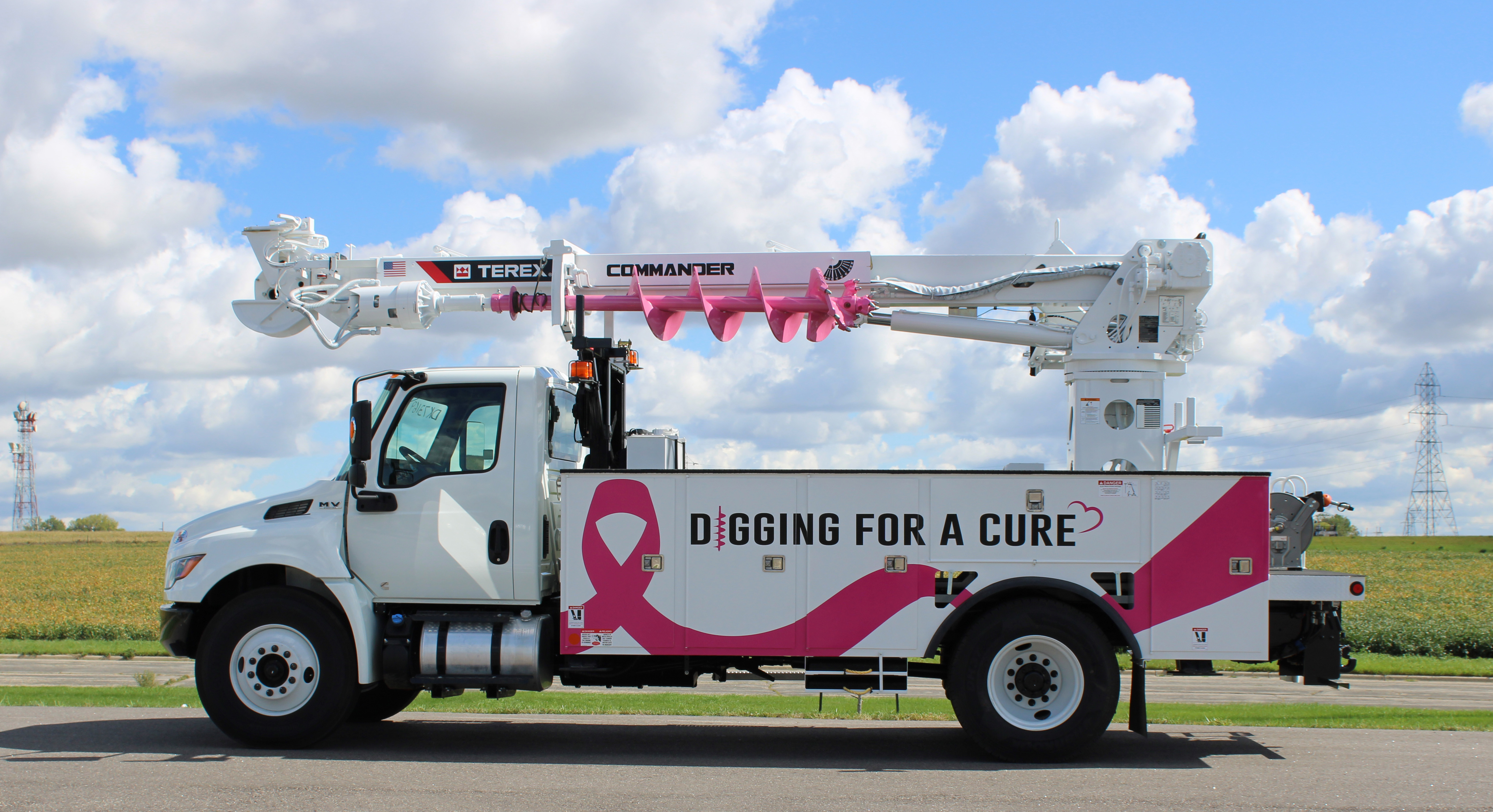 Scott Powerline & Utility Equipment will take up this pink ribbon wrapped Commander C4047 digger derrick after the Utility Expo to promote breast cancer awareness and prevention on every jobsite it goes to work on in the future.