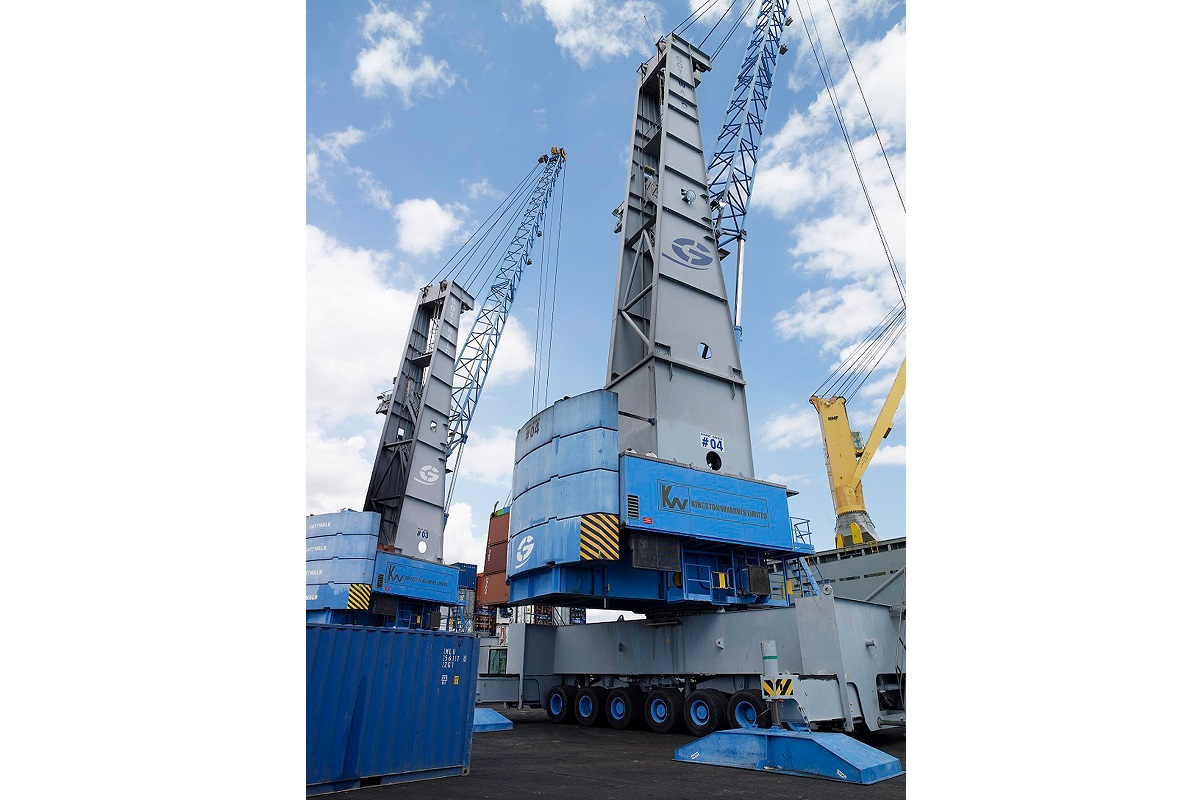 Existing Konecranes Gottwald Mobile Harbor Cranes in container handling operation at the Port of Kingston, Jamaica