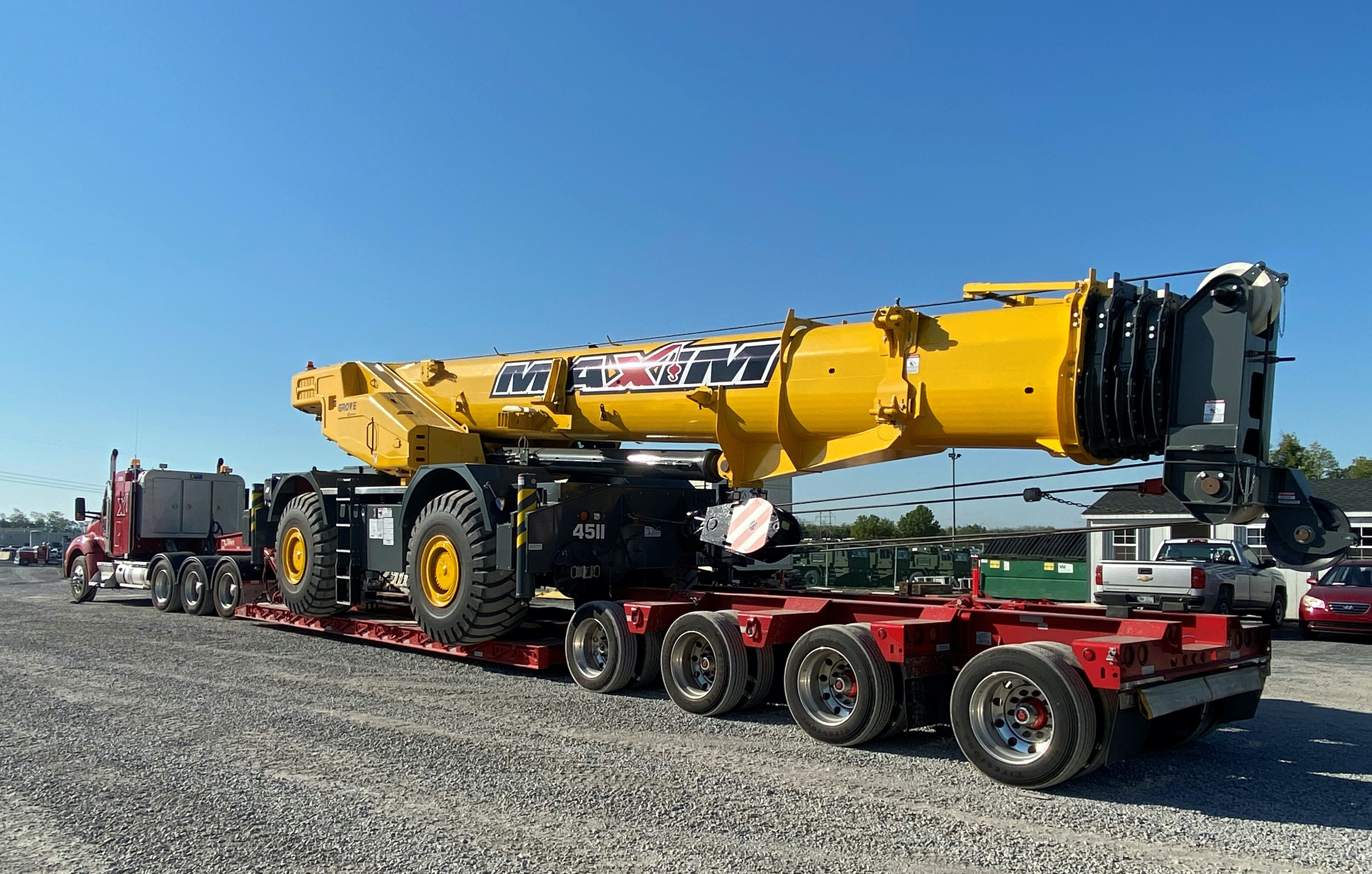 A Grove GRT8100 leaves the Manitowoc facility in Shady Grove, Pennsylvania.