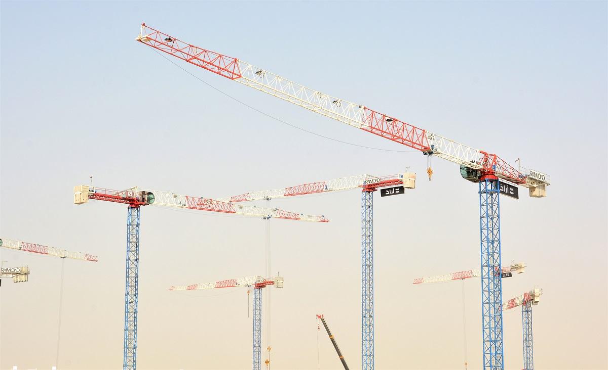 Raimondi Middle East erects eleven cranes at Aljada in Sharjah UAE