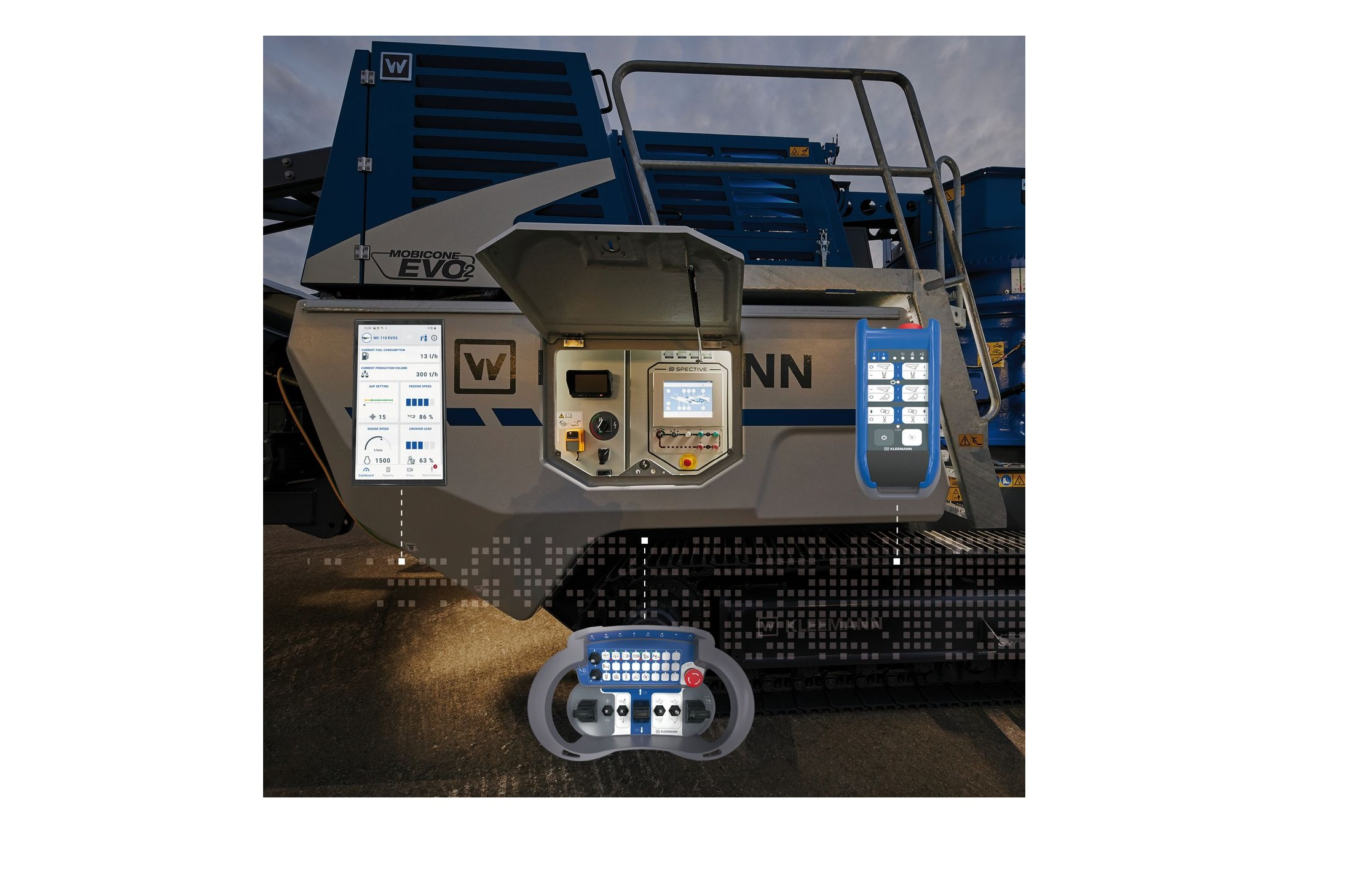 The SPECTIVE operating concept: touch panel directly at the plant, large radio remote control for the set-up and driving procedures, small radio remote control with all operating functions. SPECTIVE CONNECT - the new app with all relevant plant information and jobsite reporting.