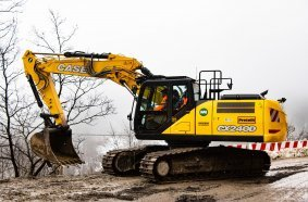 CASE CE CX240 works to rebuild and strengthen a site in the aftermath of a landslide at Bocca Trabaria