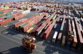 Kalmar Straddle Carriers at Maher Terminals