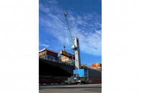 Konecranes Gottwald Model 7 mobile harbor crane in container handling operation