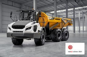 Winner of the Red Dot Award 2021 for high design quality: the new Liebherr TA 230 Litronic articulated dump truck.
