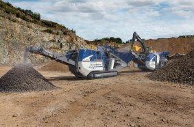 High performance as a team: the cone crusher MOBICONE MCO 90(i) EVO2 and the jaw crusher MOBICAT MC 110(i) EVO2.