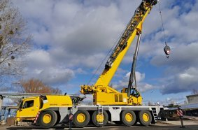 The GMK5180-1 has a nominal load capacity of 180 t, 64 m of boom and a total tip height of 101 m.