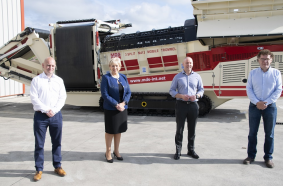 Pictured at the announcement is Conor Hegarty, General Manager and Business Line Director of MDS – a Terex brand, Minister Heather Humphreys, TD for the Cavan–Monaghan constituency, Pat Brian, VP & Managing Director, Mobile Crushing and Screening, Terex and Liam Murray, founder of MDS International