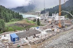 The high alpine construction site in the Stubai Alps.