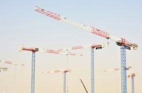 Raimondi Middle East erects eleven cranes at Aljada in Sharjah UAE
