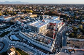 """Aerial view of the Cittadella della Salute """"Citadel of Health"""" project in Treviso, northern Italy."""