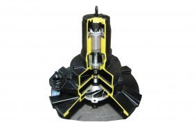 Cutaway of a Tsurumi TRN submersible self-aspirating aerator, designed for aeration and mixing of wastewater.