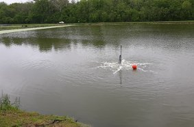A Tsurumi TRN aerator operates submerged at one of the lagoons of the Teutopolis treatment plant.