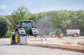 With Wirtgen's tractor-towed stabilizers like the WS 250, a tractor can be quickly converted into a soil stabilizer, enabling it to be used productively outside the harvesting season as well.