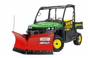 Western Impact snow plough on John Deere Gator