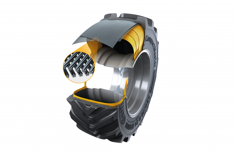 The new CompactMaster AG tire benefits from Turtle Shield, a new tread layer, and a steel belt construction which offers greater durability and stability for materials handling work. <br> Image source: Continental Reifen Deutschland GmbH