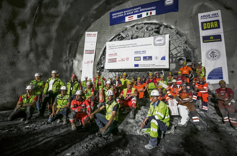 In July 2020, a Herrenknecht Gripper TBM had completed a 16.63 kilometer long section of the exploratory tunnel on the Austrian north side of the Brenner Base Tunnel. Photo: BBT SE/STRABAG/Jan Hetfleisch