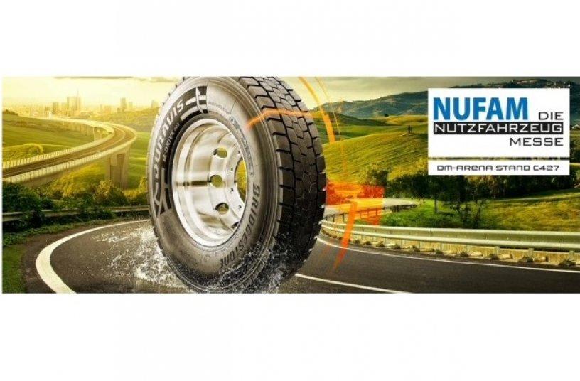 Bridgestone präsentiert das innovative Produktportfolio seiner Premium-Nutzfahrzeugreifen.<br> Bildquelle: Bridgestone