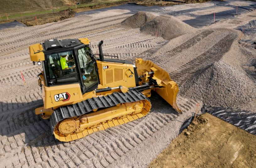 The new Cat D4 features a lower sloping hood line that provides up to 30 percent better visibility to the area in fron of the blade.<br>Image source: Caterpillar UK Ltd.