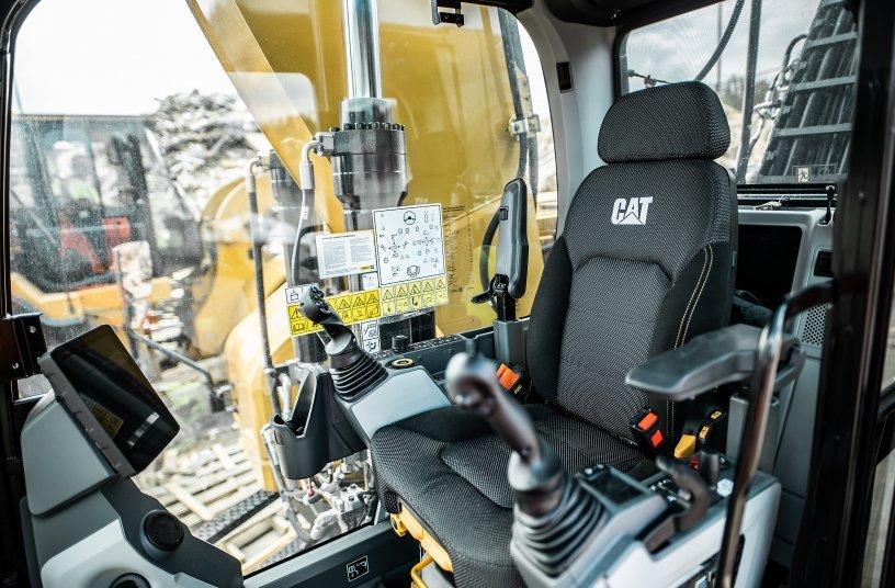 The cab of the Cat MH3026 Material Handler <br> Image source: Caterpillar UK Ltd.