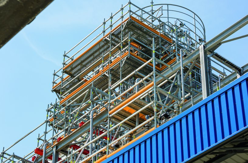 The metric basic grid of the PERI UP scaffolding kit ensured a high level of geometric and structural adaptability – and therefore a high degree of occupational safety. <br> Image source: PERI Germany