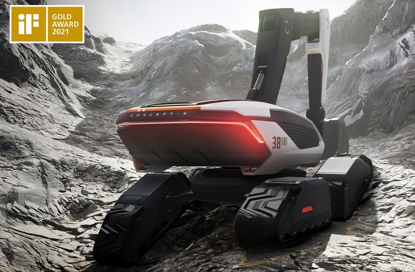 The Concept-X excavator design, part of Doosan Infracore's future-oriented unmanned equipment solution, has won the Gold Award at the iF Design Awards 2021.