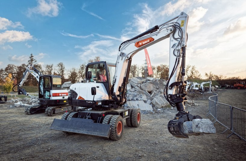 Bobcat E57W wheeled excavator <br> Image source: Doosan Bobcat EMEA