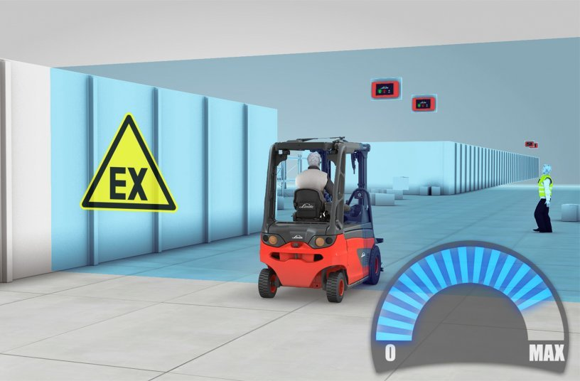 The Linde Safety Guard assistance system is now also available for explosion-protected industrial trucks used in ATEX zones 2/22. It automatically reduces the speed of vehicles as soon as they reach a specified minimum distance or enter a predefined area. Photo: Linde Material Handling GmbH
