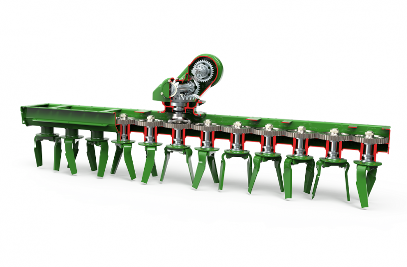 The DirectDrive gearbox dissipates the power flow directly to the spur gears of the tine carriers. <br> Image source: AMAZONEN-WERKE H. DREYER SE & Co. KG