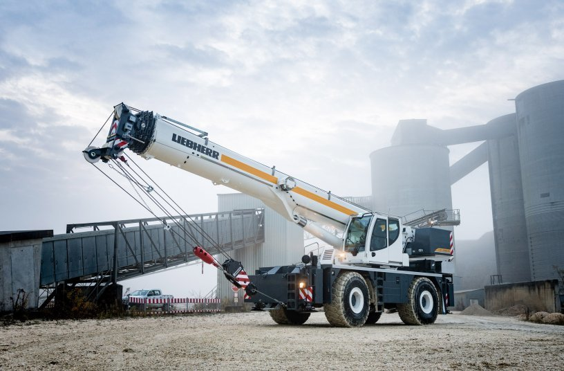 The Liebherr rough-terrain crane LRT 1090-2.1 is designed for high capacity and safety. <br>Image source: Liebherr Mining Equipment Newport News Co.