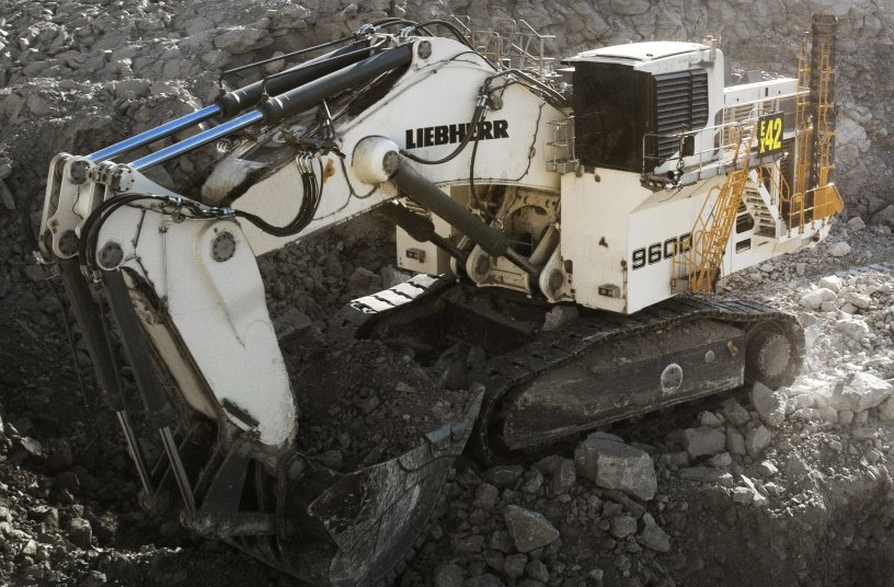 The R 9600 excavator is equipped with Liebherr Power Efficiency, Assistance Systems, and Bucket Filling Assistant. <br>Image source: Liebherr Mining Equipment Newport News Co.