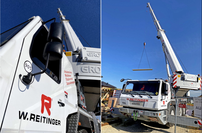 Grove GMK3050-2 der W. Reitinger GmbH im Einsatz beim Bau eines Einfamilienhauses in Weistrach, in Österreich. & Grove GMK3050-2 der W. Reitinger GmbH im Einsatz beim Bau eines Einfamilienhauses in Weistrach, in Österreich.