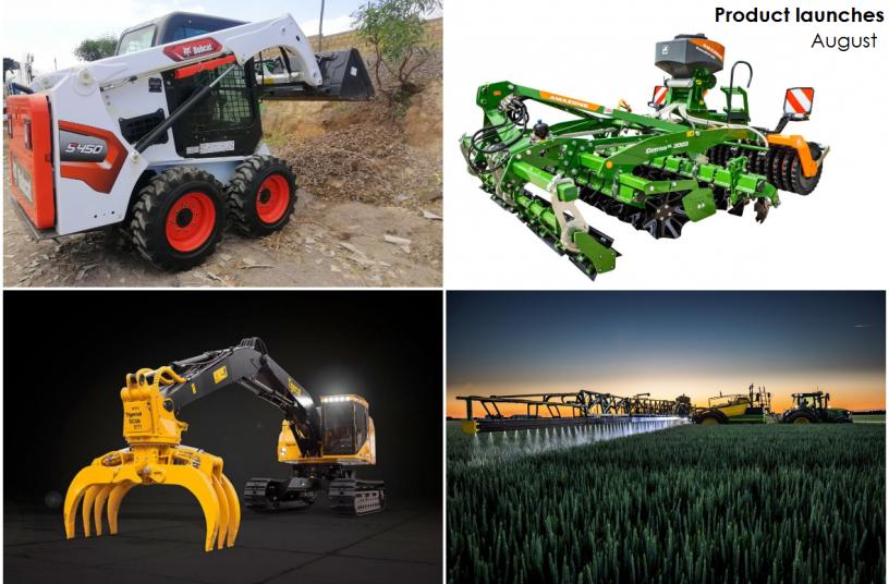 Monthly Product Launch Overview - August 2021 <br>IMAGE SOURCE: John Deere Walldorf GmbH & Co. KG; Tigercat Industries Inc.; Doosan Bobcat EMEA; AMAZONEN-WERKE H. DREYER SE & Co. KG