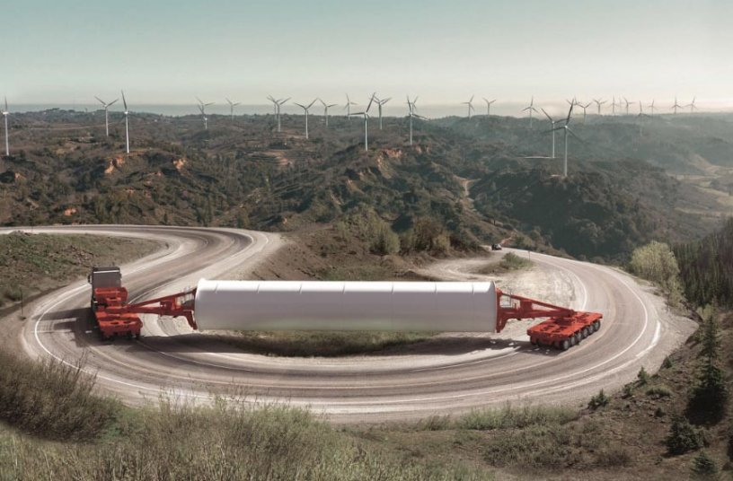Für die Anforderungen der Windkraftindustrie optimiert: der neu entwickelte K25 L von SCHEURELE. Der modulare Plattformwagen ist die geeignete Lösung für den Transport von Ladungen mit hohem Schwerpunkt. <br>Bildquelle: Transporter Industry International GmbH