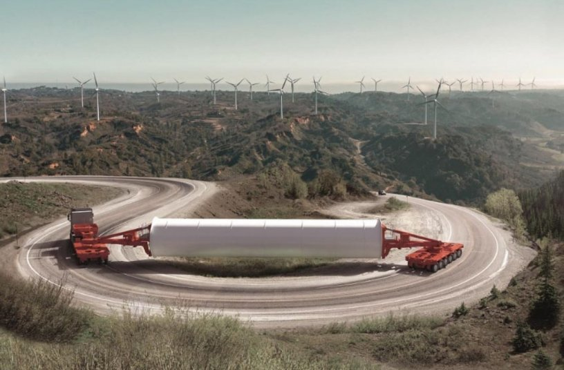 Optimised for meeting the requirements of the wind power industry: the newly-developed K25 L from SCHEURELE. The modular platform vehicle is the ideal solution for transporting loads with a high centre of gravity. <br>Image source: Transporter Industry International GmbH