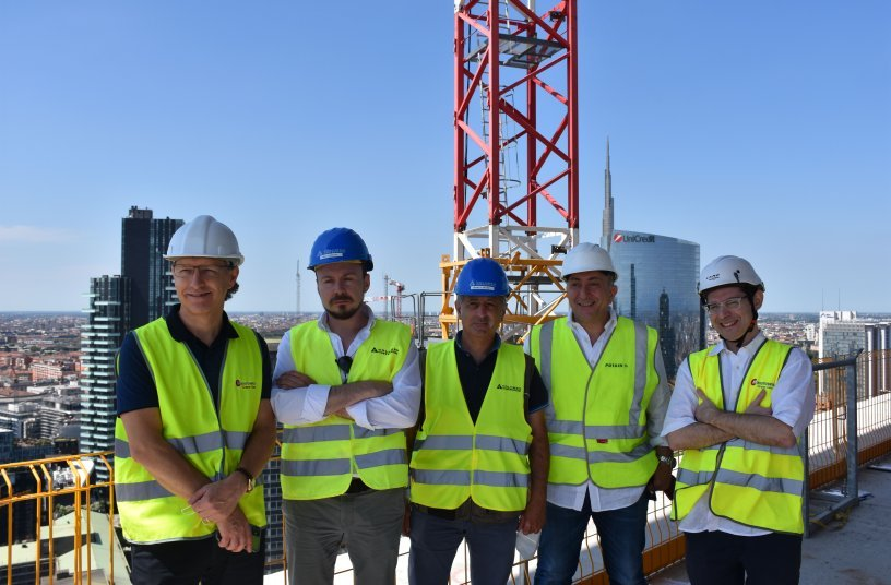 Gianluigi Consolaro, Crane Crane manager at Manitowoc Crane Group Italy; Stefano Crespi, project manager at Colombo Costruzioni; Gianluca Arconi, jobsite coordinator at Colombo Costruzioni; Sabino Riefoli, export sales & key Account manager at Manitowoc Crane Group Italy; and Matteo Pastore from Crane Crane Lift Solutions Southern Europe at Manitowoc Crane Group.