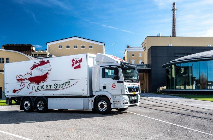 Die österreichische Stieglbrauerei hat einen Elektro-Lkw von MAN mit Reifen von Continental in ihrem Fuhrpark.<br>Bildquelle: Continental Reifen Deutschland GmbH; Stiegl