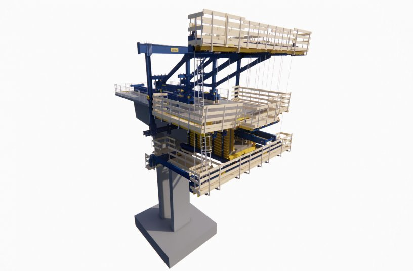 The virtual formwork planning of the Cantilever Forming Traveller using the DokaCAD for Revit planning software supported project implementation on the actual construction site. <br> Image source: Doka