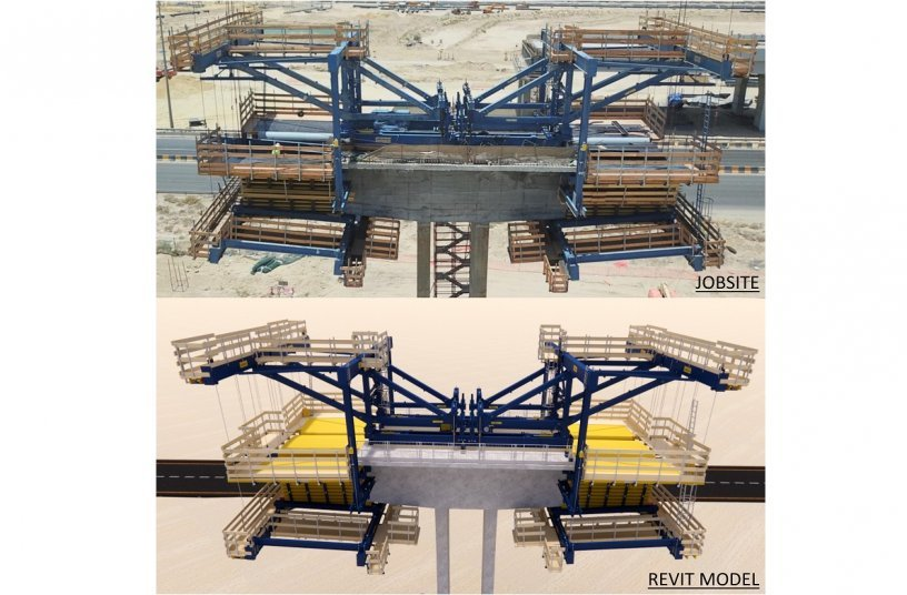 Using 3D modelling techniques, Doka provided an accurate rendering of the CFT in action, prior to erection on site. <br> Image source: Doka