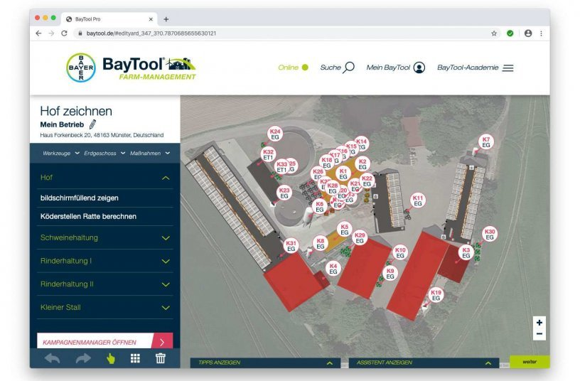 Wenn alle Angaben vervollständigt sind, zeigt BayTool® die empfohlenen Köderstellen an.