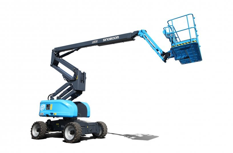 Sinoboom's latest electric AB18EJ articulated boom lift is supplied with Discover batteries as standard.