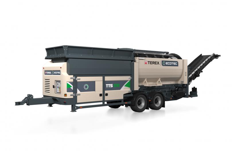 Die neue Terex Ecotec Trommelsiebanlage feiert auf der Nordbau Deutschlandpremiere bei Moerschen.<br>BUILDGUELLE: Moerschen Mobile Aufbereitung GmbH