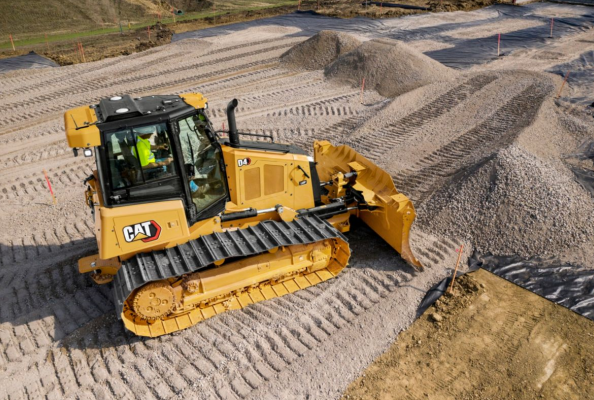 The new Cat D4 features a lower sloping hood line that provides up to 30 percent better visibility to the area in fron of the blade.