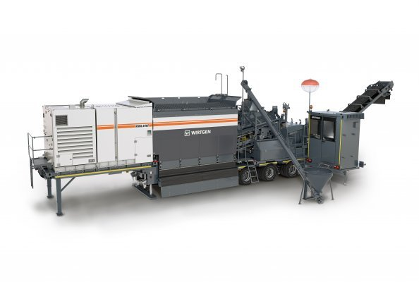 Wirtgen's new KMA 240(i) cold recycling mixing plant is a powerful and environmentally friendly machine capable of fully loading a 20-ton truck with high-quality mix/cold mix every five minutes.